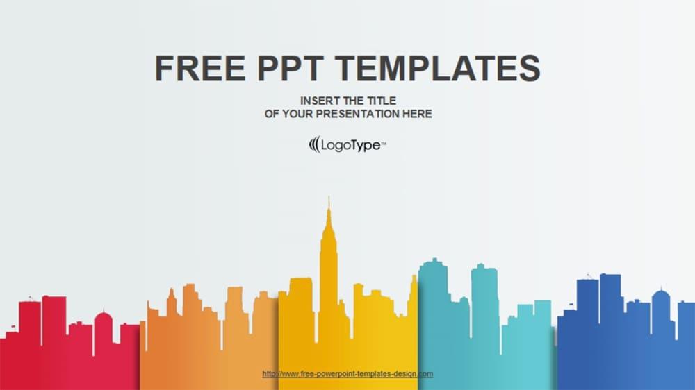 Plantilla de PowerPoint gratis paisaje de la ciudad