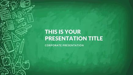 Plantilla de PowerPoint gratis para escuela verde
