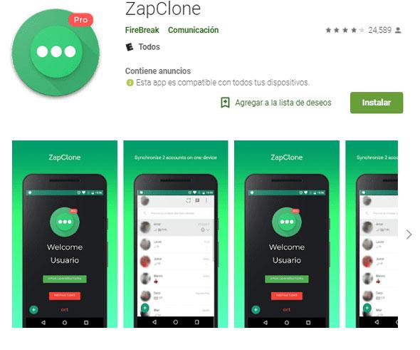 zap clone usar whasapp en dos al mismo tiempo