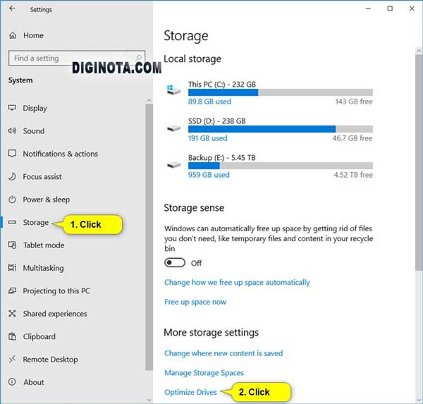 Optimizar unidades desde la configuración