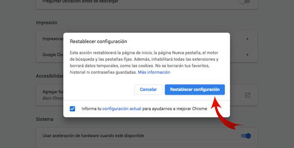 """luego haz clic en """"Restablecer configuración"""""""