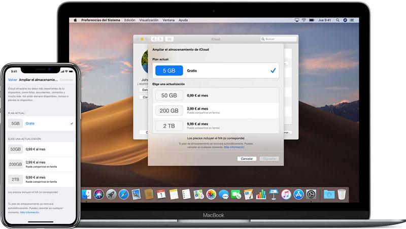 compara mas espacio en iCloud