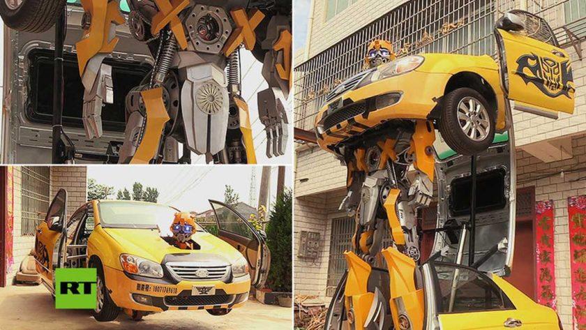 Un chino le dio vida a un gigante robot transformer