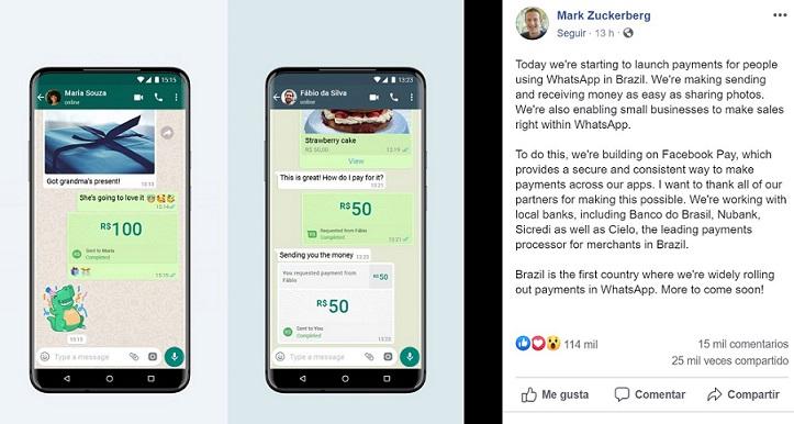 Facebook habilita transferencias de dinero vía P2P a través de WhatsApp 1